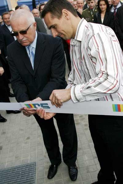 President Vaclav Klaus with Roman Sebrle (Pavel Lebeda)