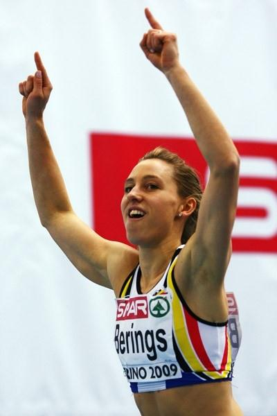 Eline Berings celebrates her 60m hurdles gold (Getty Images)