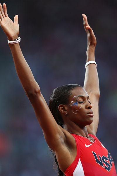DeeDee Trotter of the United States celebaes after competing in the Women's 400m Semi Final on Day 8 of the London 2012 Olympic Games at Olympic Stadium on August 4, 2012 (Getty Images)