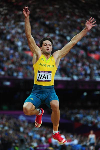 Mitchell Watt of Australia competes in the Men's Long Jump Final on Day 8 of the London 2012 Olympic Games at Olympic Stadium on August 4, 2012 (Getty Images)