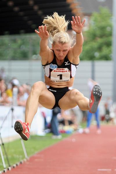 Germany's Lilli Schwarzkopf in the heptathlon long jump (Getty Images)