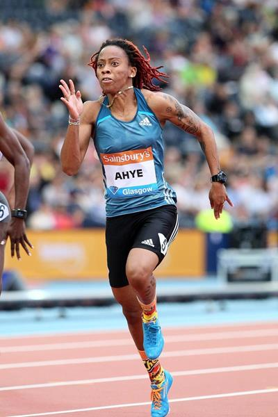 Michelle-Lee Ahye winning the 100m at the 2014 IAAF Diamond League meeting in Glasgow (Victah Sailor)