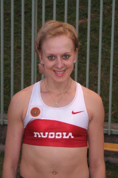 Yuliya Golubchikova in Velenje after her 4.65 PB (Bob Ramsak)