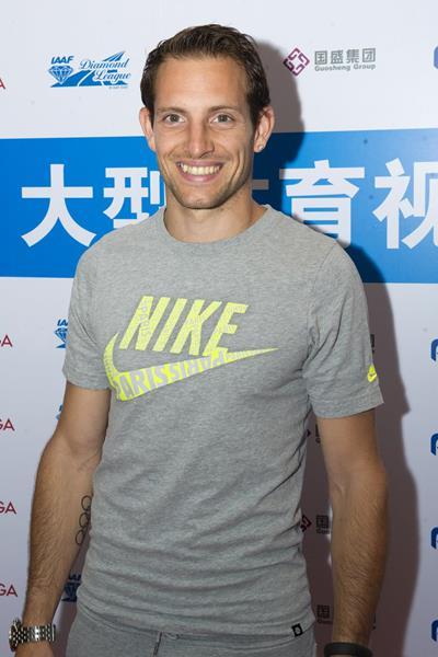 Renaud Lavillenie in Shanghai ahead of the 2014 IAAF Diamond League meeting (Errol Anderson)