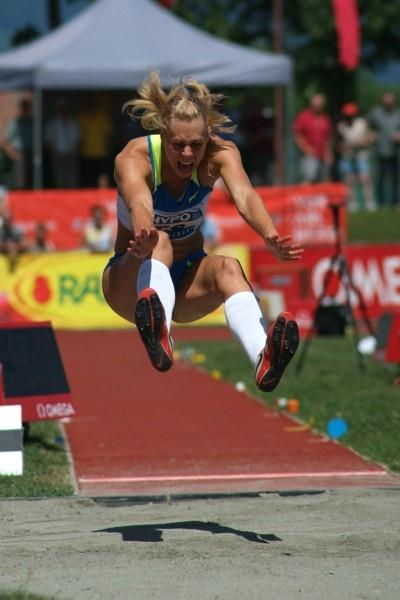 Tatyana Chernova long jumps to 6.78m in the Hypo Meeting title in Götzis (Lorenzo Sampaolo)