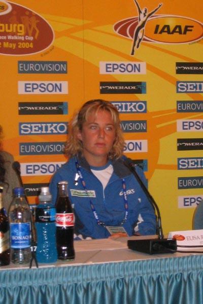 Elisa Rigaudo of Italy at the IAAF Press Conference in Naumburg (IAAF)