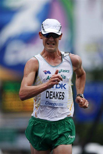 Nathan Deakes of Australia competes in the men's 50km race walk during day eight  (Getty Images)