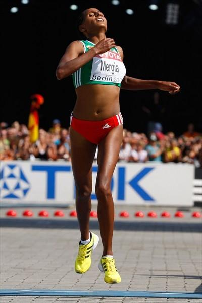 Aselefech Mergia of Ethiopia takes the bronze in the women's Marathon at the 12th IAAF World Championships in Athletics (Getty Images)