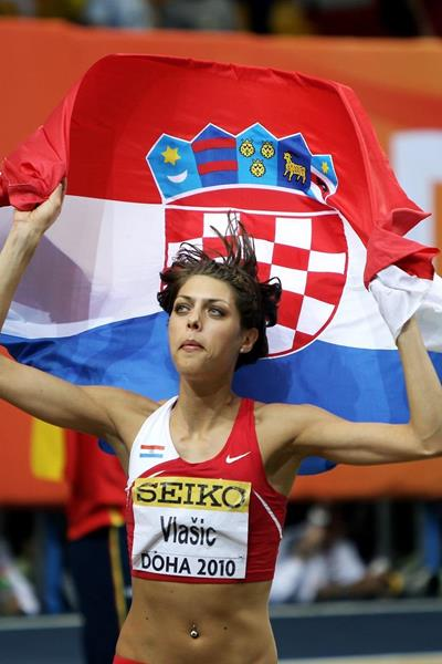 Blanka Vlasic after winning at the 2010 IAAF World Indoor Championships (Getty Images)