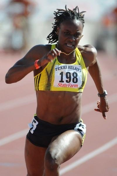 Laverne Jones cruises to a windy 11.03 victory at the Texas Relays (Kirby Lee)