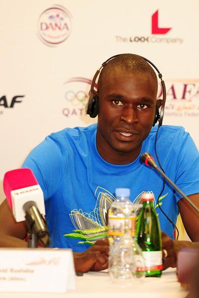 David Rudisha at the Doha 2013 Diamond League press conference (Errol Anderson)