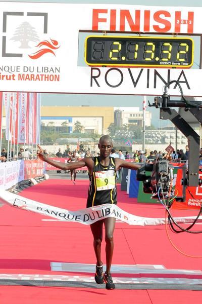 William Kipsang winning at the 2013 International Beirut Marathon  (Organisers)