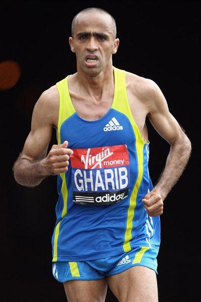 Jaouad Gharib on the way to his third place finish in London (Getty Images)