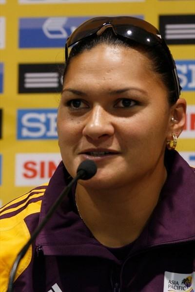 Valerie Adams at the pre-competition press conference in Split (Bob Ramsak)