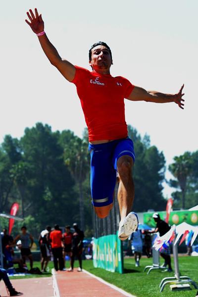 Mexican long jumper Luis Rivera at the 2013 Mt SAC Relays (Randy Miyazaki / trackandfieldphoto.com)