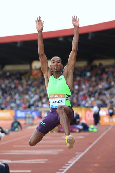 Christian Taylor at the 2014 IAAF Diamond League meeting in Birmingham (Jean-Pierre Durand)