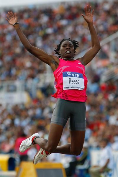 USA's Brittney Reese sets a competition record of 7.08m to win the women's long jump (Getty Images)