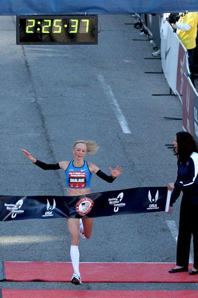 Shalane Flanagan wins the USA Olympic Marathon Trials in Houston (Getty Images)