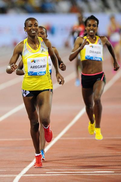 Abeba Aregawi smashes the 1500m meeting record at the 2013 Doha Diamond League (Errol Anderson)