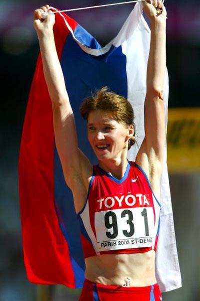 Yelena Nikolayeva celebrates after 20km Walk victory (Getty Images)