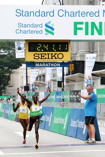 Sharon Cherop sprints to victory at the 2013 Standard Chartered Marathon Singapore (Organisers)
