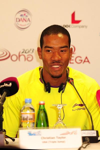 Christian Taylor at the Doha 2013 Diamond League press conference (Errol Anderson)