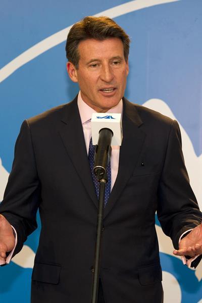 Lord Sebastian Coe in Shanghai ahead of the 2014 IAAF Diamond League meeting (Errol Anderson)