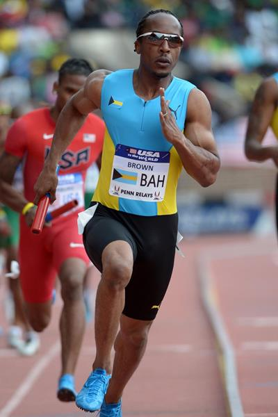 Chris Brown in action at the 2014 Penn Relays (Kirby Lee)