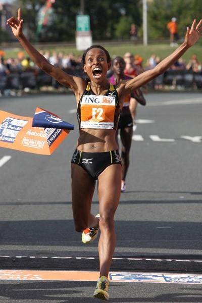A happy debutante indeed! Meseret Defar takes the Philadelphia Half Marathon in 1:07:44 (Victah Sailer)