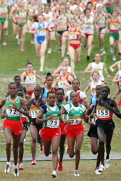 Pauline Korikwiang with the rest of the junior women's race leaders (Getty Images)