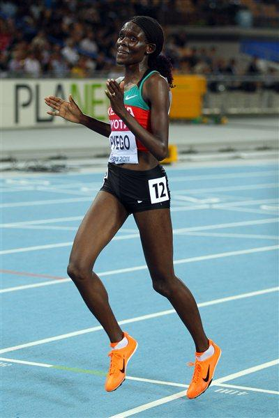 Sally Kipyego after her silver medal-winning run in the Daegu 10,000m (Gety Images)