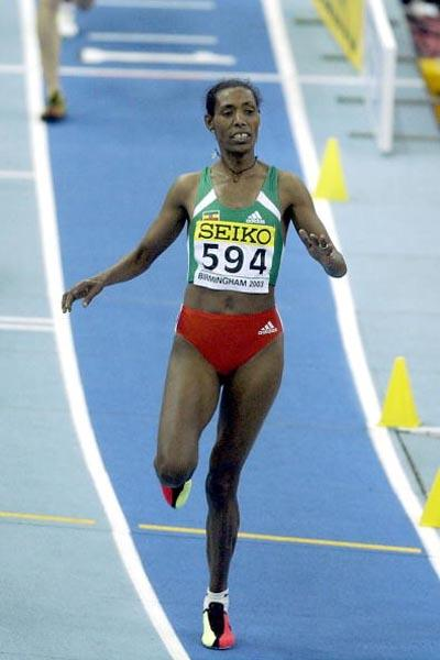 Berhane Adere (ETH) in action in the women's 3000m (Getty Images)