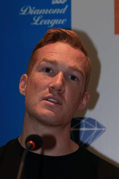 Greg Rutherford ahead of the 2014 IAAF Diamond League meeting in Birmingham (Jean-Pierre Durand)