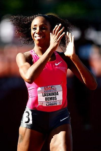 Lashinda Demus celebrates her win at the US champs (Getty Images)