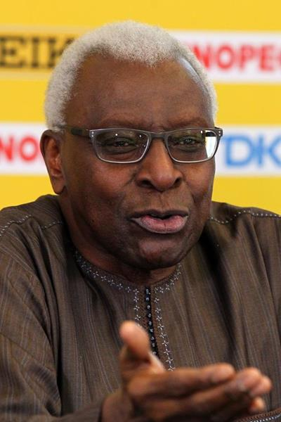 IAAF president Lamine Diack at the press conference ahead of the IAAF World Junior Championships, Oregon 2014 (Getty Images)