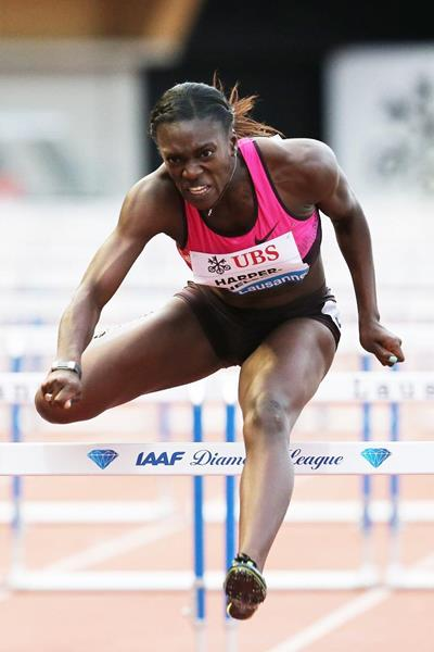Dawn Harper-Nelson at the 2013 IAAF Diamond League meeting in Lausanne (Gladys von der Laage)