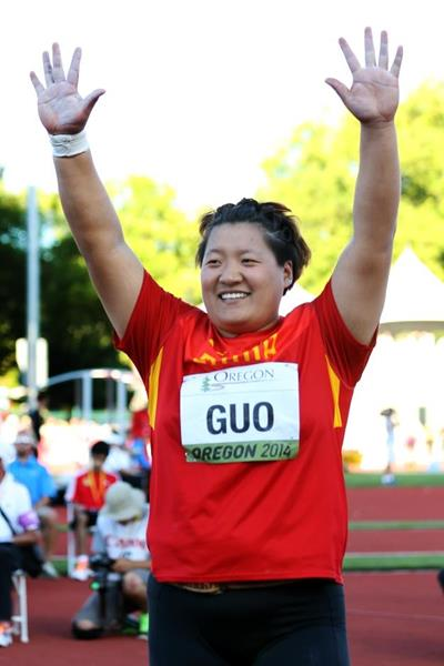 Shot put winner Guo Tianqian at the IAAF World Junior Championships, Oregon 2014 (Getty Images)