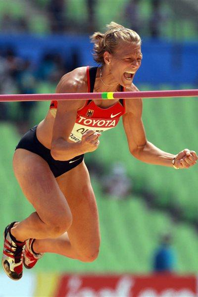 Jennifer Oeser of Germany celebrates clearing a height in the High Jump Heptathlon (Getty Images)