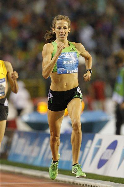 Morgan Uceny en route to a 4:00.06 world lead in Brussels (Gladys Chai van der Laage)