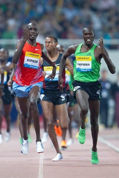 Nixon Kiplimo Chepseba (r) out-sprints Asbel Kiprop in Shanghai (Errol Anderson)