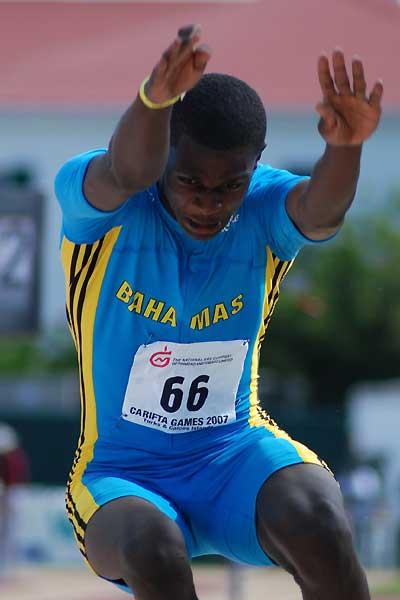 Raymond Higgs of the Bahamas won the boys' Under-17 Triple Jump at Carifta Games (Anthony Foster)