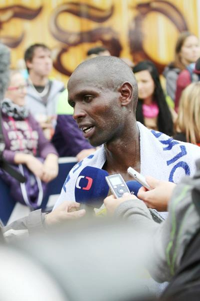 Philemon Limo after winning at the Mattoni Ústí nad Labem Half Marathon (Organisers)