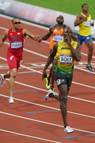 Usain Bolt of Jamaica  going for gold in the Men's 200m Final of the London 2012 Olympic Games on August 9, 2012 (Getty Images)