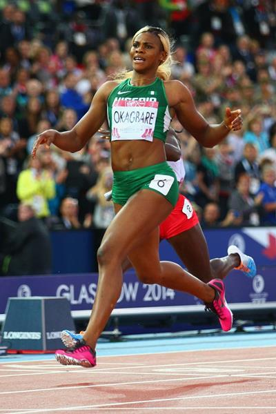 Blessing Okagbare wins the 200m at the 2014 Commonwealth Games (Getty Images)