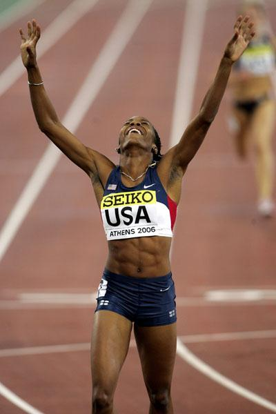 Time to celebrate for Sanya Richards (Getty Images)
