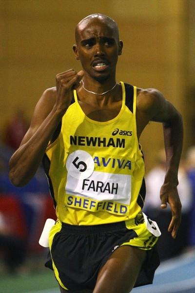 Mo Farah en route to the UK indoor 1500m title in Sheffield (Getty Images)
