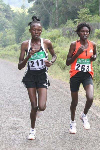 Agnes Kiprop (217) and Joan Ayabei (263) battle it out in the women's 15km in Baringo (David Macharia)
