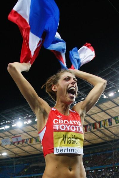 Blanka Vlasic of Croatia unleashes her emotions after winning the 12th IAAF World Championships in Athletics' High Jump competition with a heigh of 2.04m (Getty Images)