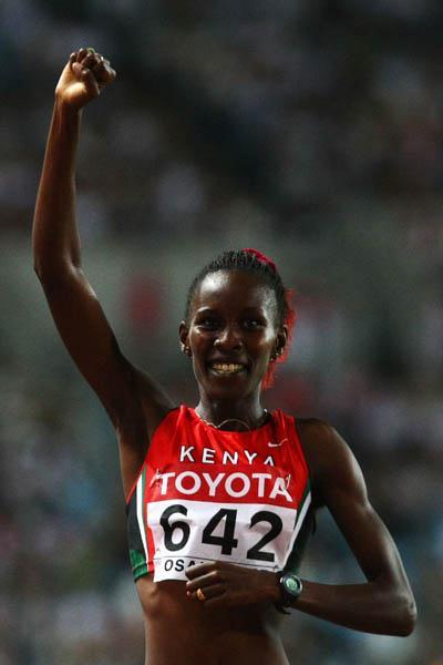 Janeth Jepkosgei of Kenya celebrates winning the women's 800m final (Getty Images)