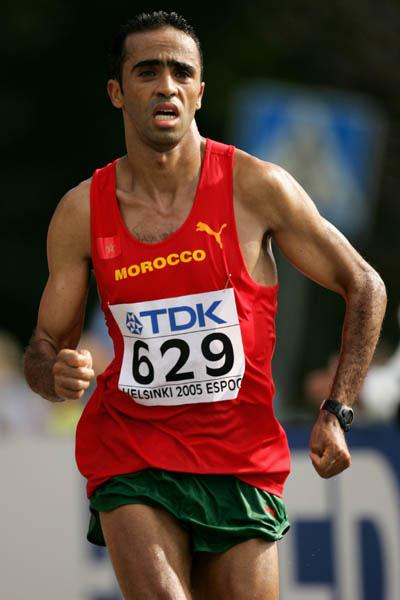 Jaouad Gharib of Morocco leading in the men's Marathon (Getty Images)